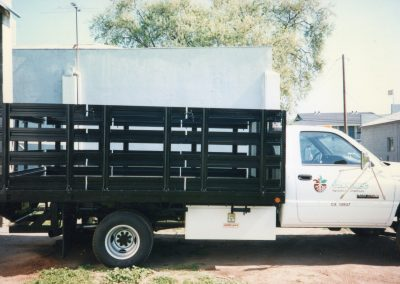 Flat Bed with Stakes Sides and Tool Boxes