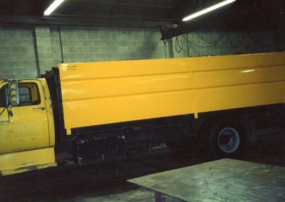 4x8x16 Rice Bin mounted on a flat bed dump truck
